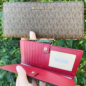 Michael kors jet set travel slim bifold wallet brown mk scarlet red