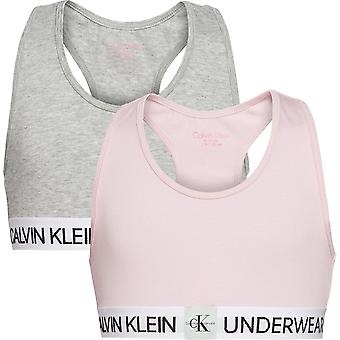 Calvin Klein Girls 2 Pack Minigram Bralette - Unique/Grey Heather