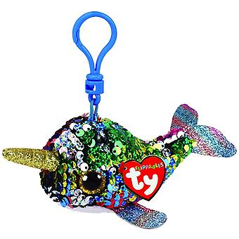 Ty Flippable Sequins - Calypso the Narwhal Key Clip