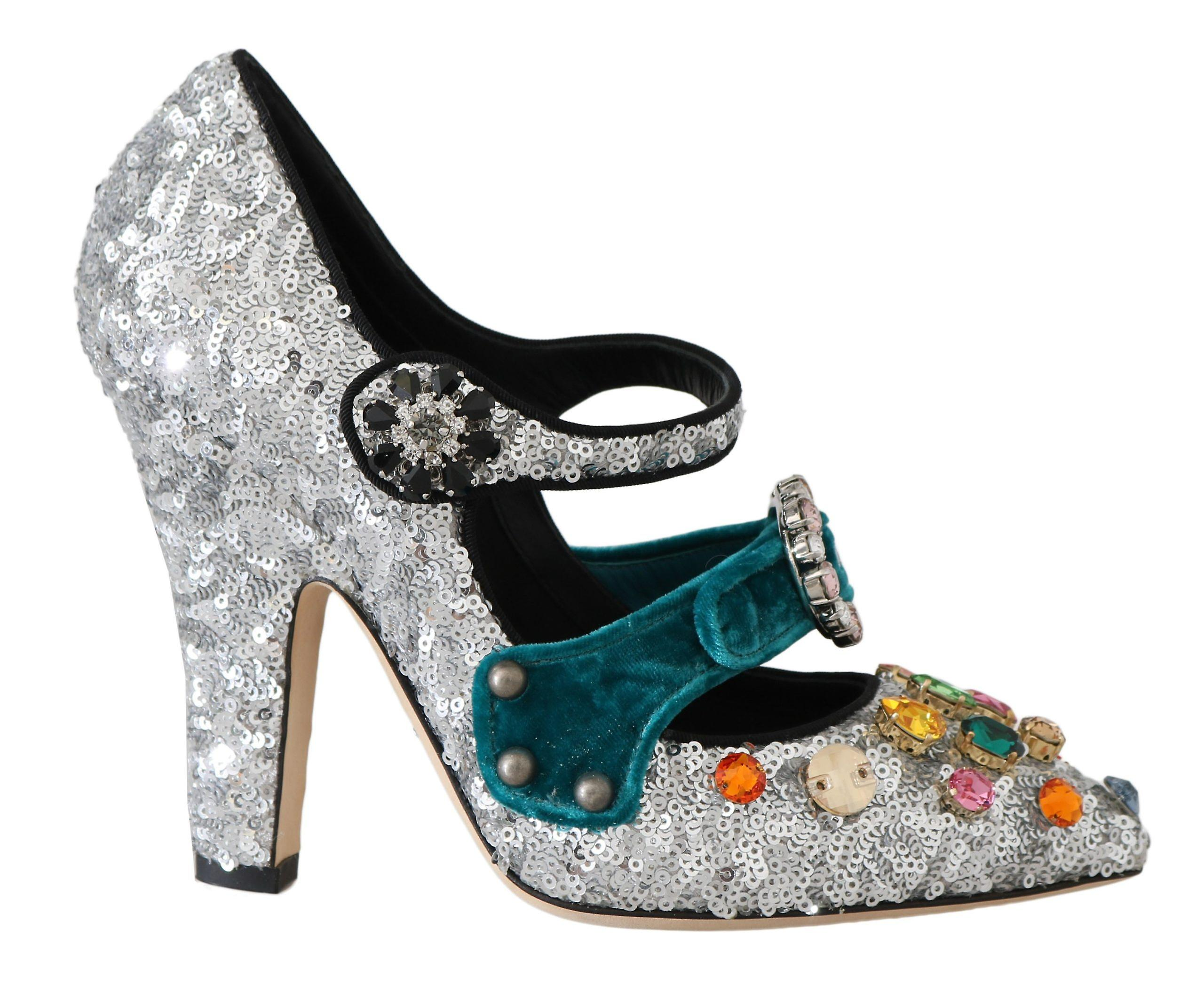 Silver Sequined Crystal Mary Janes Pumps rLBhF