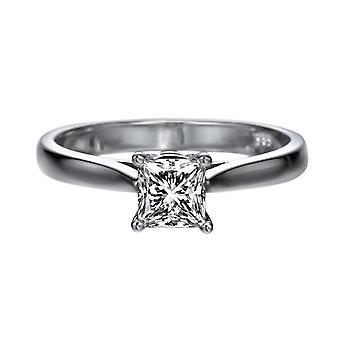 0.95 Carat F SI2 Diamond Engagement Ring 14K White Gold Solitaire Classic Princess