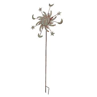 Oxidized Copper Finish Celestial Spinner Garden Stake 23.5 Inch Diameter