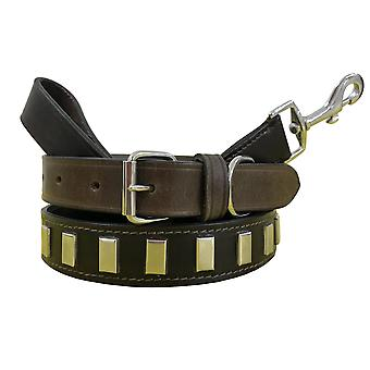 Bradley crompton genuine leather matching pair dog collar and lead set bcdc10brown