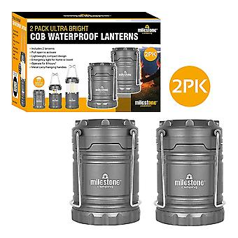 Milestone 2 Pack Ultra Bright COB LED Waterproof Camping Lantern Grey