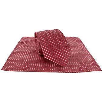 Michelsons Lontoo paikalla Polyesteri Tie ja taskussa neliön Set - punainen/valkoinen