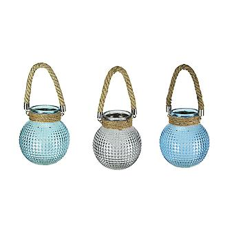 Set of 3 Hobnail Beaded Glass 6.5 Inch Tall Tealight Candle Lanterns with Rope Handles