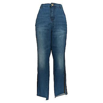 K Jordan Women's Plus Jeans Side Stripe Skinny Medium Wash Denim Blue