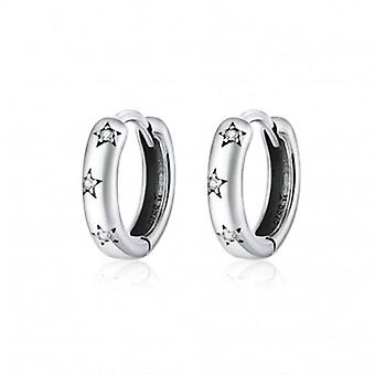 Silver Earrings Sparkling Star - 6596
