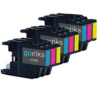 3 készlet C / M / Y tintapatron helyett Brother LC1240 és LC1220 kompatibilis / nem OEM Brother DCP és MFC nyomtatók (9 tint)