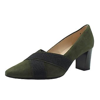Peter Kaiser Mea Mid Heel Court Shoes In Pine Suede