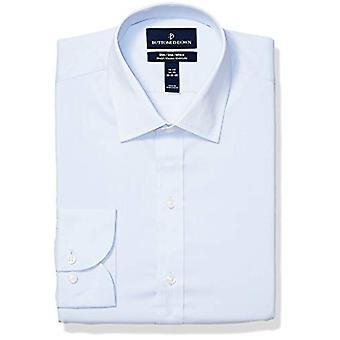 "BOTONED ABAJO Hombres's Slim Fit Tech Stretch CoolMax Easy Care Vestido Camisa, Azul, 14.5"" Cuello 32""-33"" Manga"