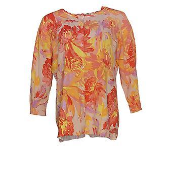Isaac Mizrahi Live! Kvinner&s Akvarell Floral Trykt Cardi Oransje A372840