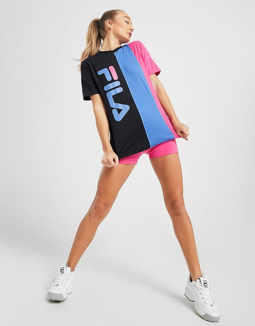 New Fila Women's  Colour Block Logo Short Sleeve T-Shirt Black