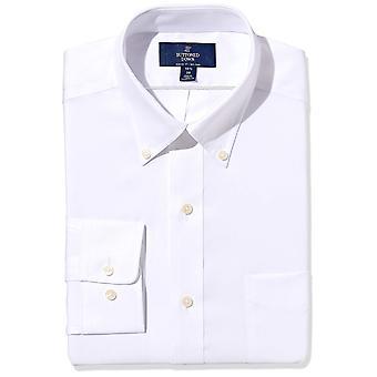 BUTTONED أسفل الرجال & ق الكلاسيكية تناسب زر ذوي الياقات البيضاء غير الحديد اللباس قميص (جيب)، ...