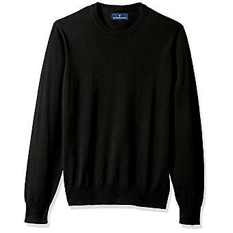 BUTTONED DOWN Men's Supima Cotton Lightweight Crewneck Sweater, black, Large