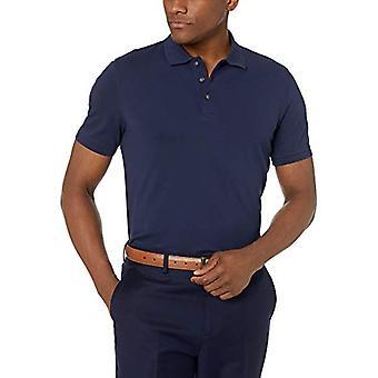 BUTTONED DOWN Men's Slim-Fit Supima Cotton Stretch Pique Polo Shirt, Navy, XX...