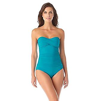Anne Cole Women's Twist Front Shirred One Piece Swimsuit, Cobalt Blue, 14