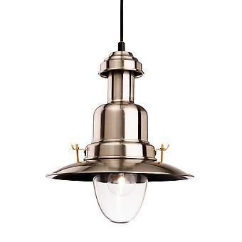 Firstlight Classic - 1 Light Dome Ceiling Pendentif En acier brossé, Verre transparent, E27
