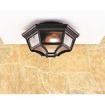 Firstlight - 1 Lanterne de panneau 6 lumière - Flush Ceiling Light Black IP43, E27