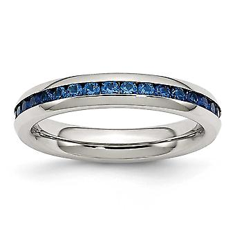 Stainless Steel Polished 4mm September Blue CZ Cubic Zirconia Simulated Diamond Ring Jewelry Gifts for Women - Ring Size