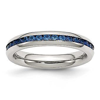 Nerezová oceľ leštené 4mm september Blue CZ kubický zirkónia simulované diamantové prsteň šperky Darčeky pre ženy-prsteň veľkosť