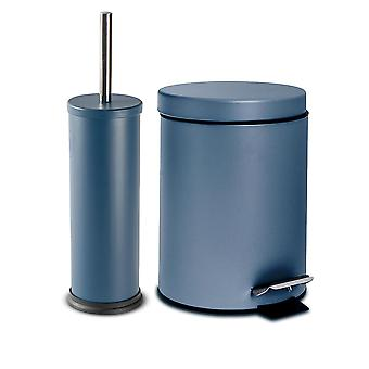 2 Piece 3 Litre Bathroom Pedal Bin & Toilet Brush Set - Matte Blue