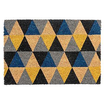 Nicola Spring Non-Slip Door Mat Natural Coir Indoor Outdoor Welcome Mats - 40x60cm - Triangles - Grey