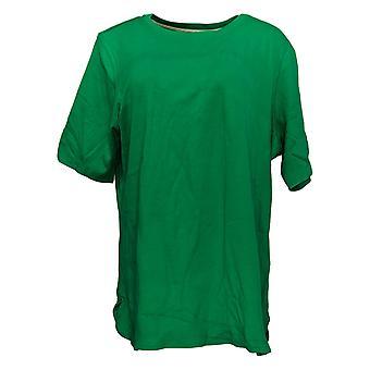 Isaac Mizrahi Live! Women's Top (XXL) Elbow Slv Crew Neck Green A306543