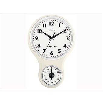 Acctim Kitchen Time Wall Clock + Timer Cream 21592