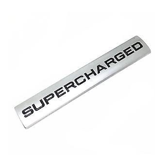 Silver Chrome/Black Range Rover & Land Rover Supercharged Badge Emblem 110mm x 20mm