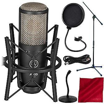 Akg projektstudio p220 stor-membran cardioid kondensor mikrofon - grundläggande tillbehör bunt med mic står & Mer