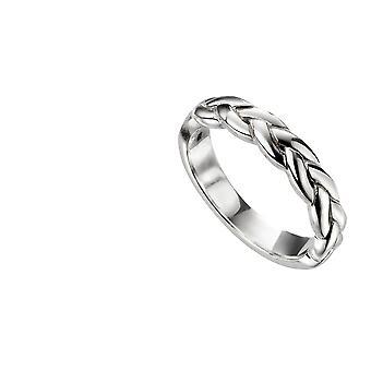 Herre flettet sølv ring