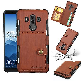 For Huawei Mate 10 Pro Brushed Texture Shockproof PU + TPU Case, with Card Slots & Wallet & Photo Frame(Brown)