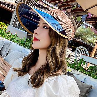 المرأة المضادة للأشعة فوق البنفسجية قناعات سترو قبعة، أنثى البلاستيك واسعة بريم الشمس قبعة