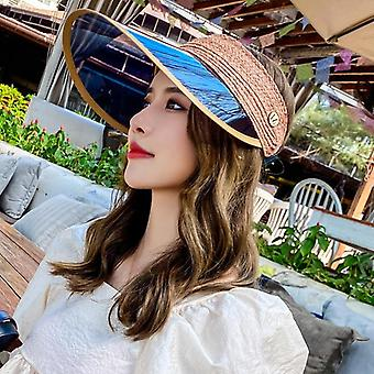 Vrouwen Anti-uv Visors Straw Hat, Vrouwelijke Plastic Wide Brim Sun Hat