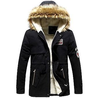 Zimné husté slim kožušiny s kapucňou outwear teplý kabát ležérne pevné značky outwear