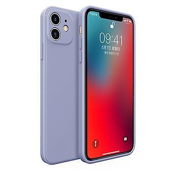 MaxGear iPhone 12 Square Silicone Case - Soft Matte Case Liquid Cover Light Blue