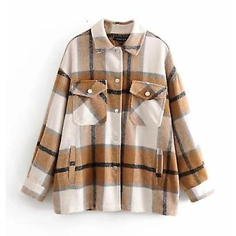 Autumn/winter Plaid Oversize Jackets Loose Casual Checker Streetwear Coat