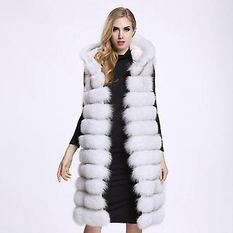 Long Vest, Winter Women Luxury Fox Fur Furry, Plus Size