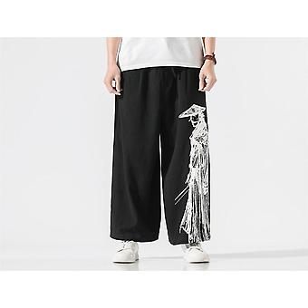 Oversized Pants, Printed Linen Wide Leg Pant, Streetwear, Casual, Men Straight