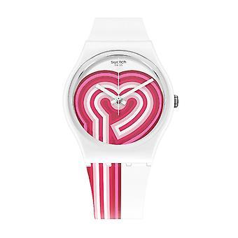 Reloj de silicona Swatch Gw214 Beatpink blanco