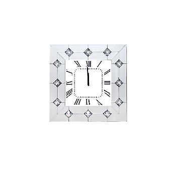 Gespiegelte quadratische Form Holz Analog Wanduhr mit Kristall Akzente, weiß