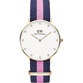 Daniel Wellington Winchester blanco dial rosa textil cuarzo mujer's reloj 0952DW