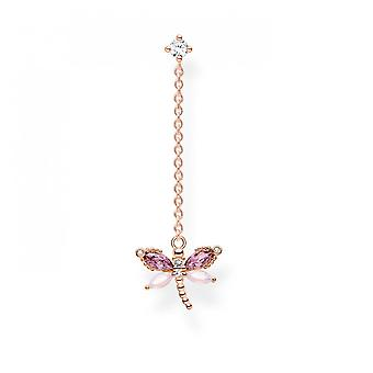 Thomas Sabo Charm Club Rose Gold Plated Zirconia Dragonfly Single Earring H2187-321-7