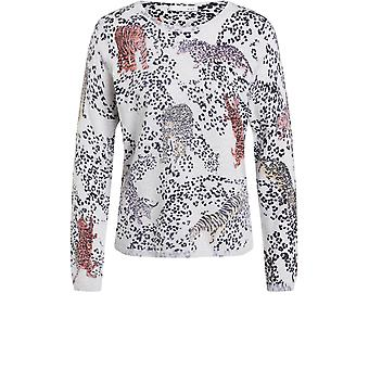 Oui Leopard Print Fine Knit Jumper