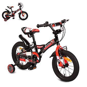 Bicicleta para niños Byox 14 pulgadas Rápido Negro, Ruedas de Apoyo, Silla de Campana Ajustable