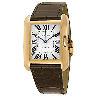 Cartier Tank Anglaise Silver Dial 18kt Rose Gold Brown Leather Men's Klocka W5310004
