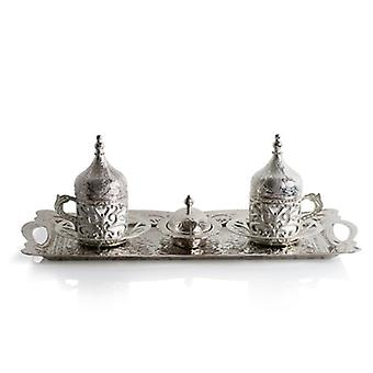 Traditional Silver Ottoman Set-2 Cups And Tray