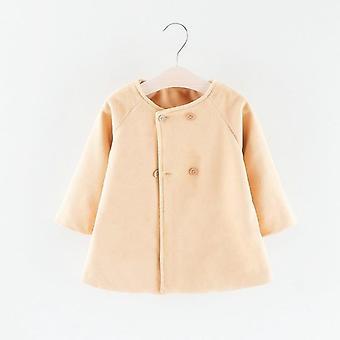 Children's Winter Coat, New O-neck Long Sleeve Cape Woolen Jacket