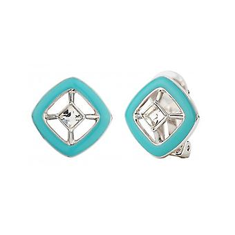 Traveller Clip Earrings With Crystal From Swarovski Rhodium Plated Turquoise - 157254 - 626
